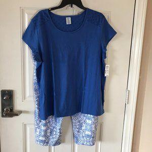 NWT Croft & Barrow Capri Pajama Set Blue